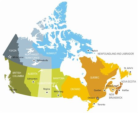 Detailed map of administrative divisions of Canada Stock Photo - Budget Royalty-Free & Subscription, Code: 400-06081545