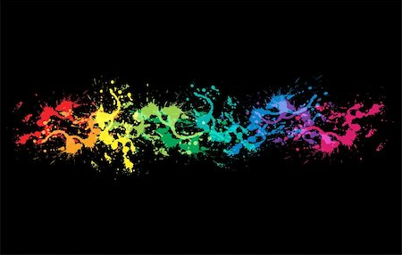 dripping splat - Colourful bright ink splat design with a black background Stock Photo - Budget Royalty-Free & Subscription, Code: 400-06081662
