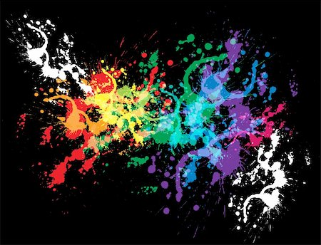dripping splat - Colourful bright ink splat design with a black background Stock Photo - Budget Royalty-Free & Subscription, Code: 400-06081663