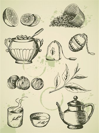 set of vintage vector hand drawn tea icons Stock Photo - Budget Royalty-Free & Subscription, Code: 400-06081909