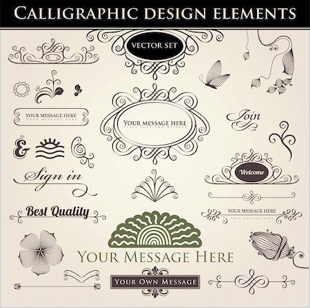 Vector set. Calligraphic design. Elements and page decoration. Stock Photo - Budget Royalty-Free & Subscription, Code: 400-06082053