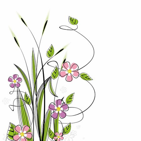 grass with flowers on white background Stock Photo - Budget Royalty-Free & Subscription, Code: 400-06082194