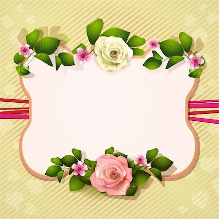 Mirror with white and pink roses Stock Photo - Budget Royalty-Free & Subscription, Code: 400-06082396