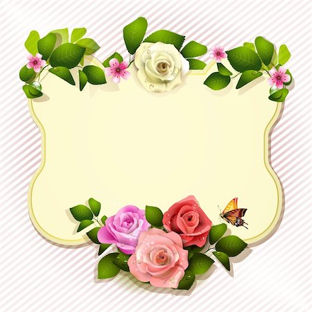 Mirror with roses and butterfly Stock Photo - Budget Royalty-Free & Subscription, Code: 400-06082391
