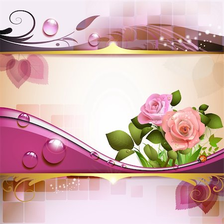 Background with roses and drops Stock Photo - Budget Royalty-Free & Subscription, Code: 400-06082406