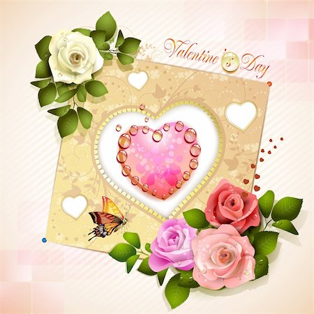 Valentine's day card. Decorated background with heart and roses Stock Photo - Budget Royalty-Free & Subscription, Code: 400-06082408