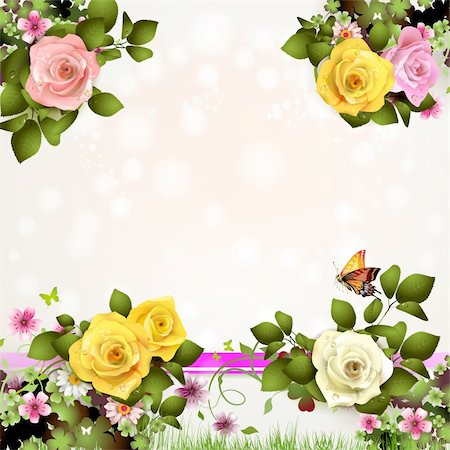 Springtime background with flowers and butterflies Stock Photo - Budget Royalty-Free & Subscription, Code: 400-06082403