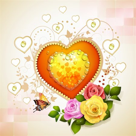 Hearts with roses for Valentine's Day Stock Photo - Budget Royalty-Free & Subscription, Code: 400-06082410