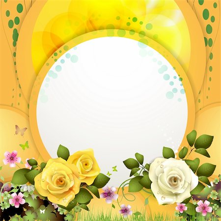 Yellow background with flowers and butterflies Stock Photo - Budget Royalty-Free & Subscription, Code: 400-06082412