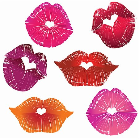 simsearch:400-04801287,k - Vector lip heart hole, print valentine kiss set, romantic background. Design element. Stock Photo - Budget Royalty-Free & Subscription, Code: 400-06082574