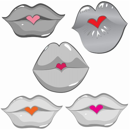 simsearch:400-04801287,k - Woman sexy lip heart kiss. Female lipstick hole. Vector art illustration. Smile. Stock Photo - Budget Royalty-Free & Subscription, Code: 400-06082573