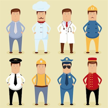 Vector worker set - ofice worker, chef, doctor, fireman, pilot, carpenter, policeman, porter Stock Photo - Budget Royalty-Free & Subscription, Code: 400-06082781