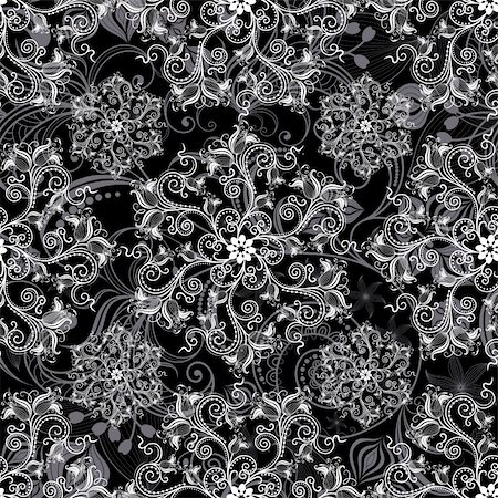 Black seamless background with round white floral pattern (vector) Stock Photo - Budget Royalty-Free & Subscription, Code: 400-06083486