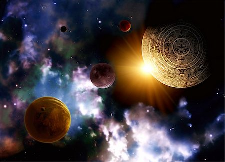 Maya prophecy. Horizontal background with space scene Stock Photo - Budget Royalty-Free & Subscription, Code: 400-06083599