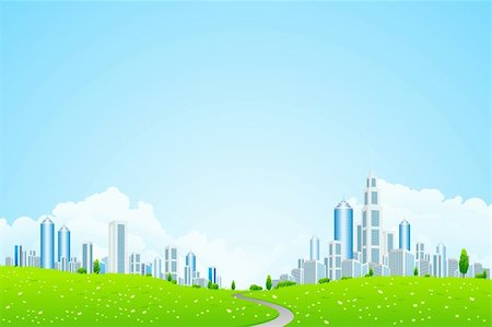 road landscape - Green Vector landscape with trees road and business city for your design Stock Photo - Budget Royalty-Free & Subscription, Code: 400-06083997