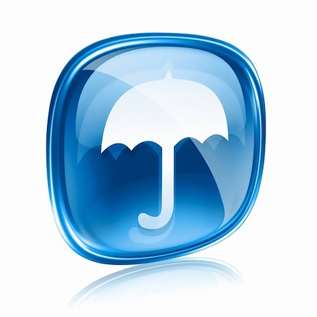 Umbrella icon blue glass, isolated on white background Stock Photo - Budget Royalty-Free & Subscription, Code: 400-06094242