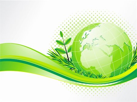 abstract eco background with globe vector illustration Stock Photo - Budget Royalty-Free & Subscription, Code: 400-06094514