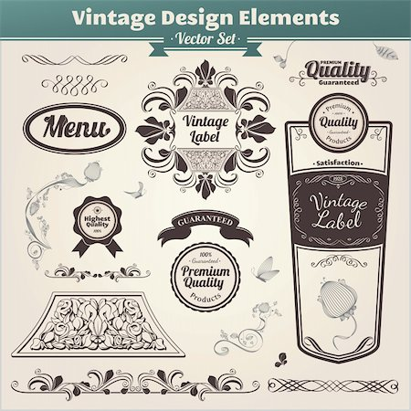 Vector set. Calligraphic design. Elements and page decoration. Stock Photo - Budget Royalty-Free & Subscription, Code: 400-06094613