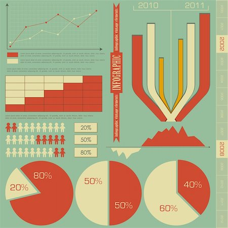 Retro elements for infographics - charts, Graphs for Presentation - vector illustration Stock Photo - Budget Royalty-Free & Subscription, Code: 400-06094636