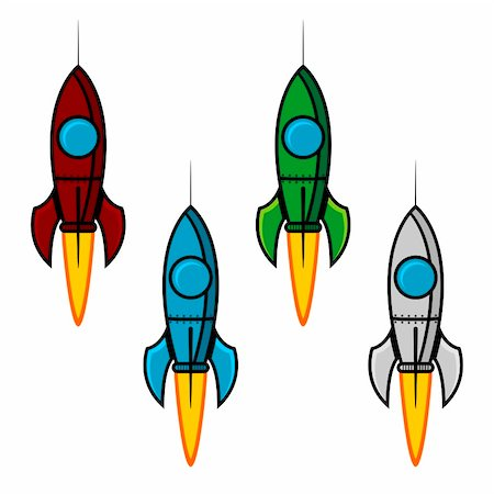 scalable - Space rocket set with different colors over white Stock Photo - Budget Royalty-Free & Subscription, Code: 400-06094750