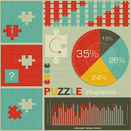 elements of Puzzle for Infographics - charts and graphs for presentations - vector illustration Stock Photo - Budget Royalty-Free & Subscription, Code: 400-06094933