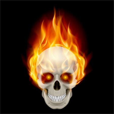 Burning skull in hot flame. Illustration on black background Stock Photo - Budget Royalty-Free & Subscription, Code: 400-06094949