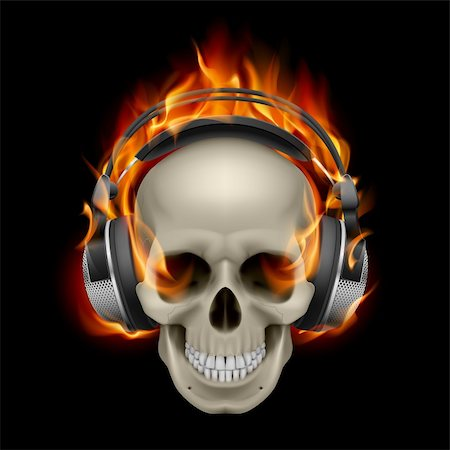 Cool Illustration of Flaming Skull Wearing Headphones Stock Photo - Budget Royalty-Free & Subscription, Code: 400-06094951