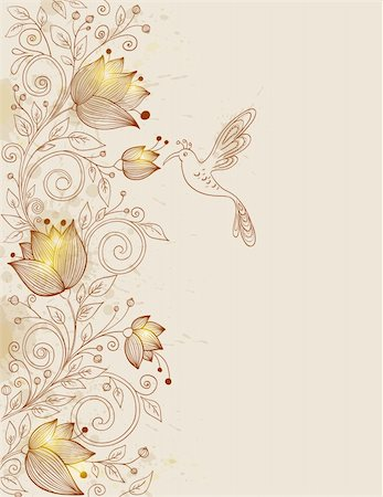 vector hand drawn retro floral background with bird Stock Photo - Budget Royalty-Free & Subscription, Code: 400-06095088