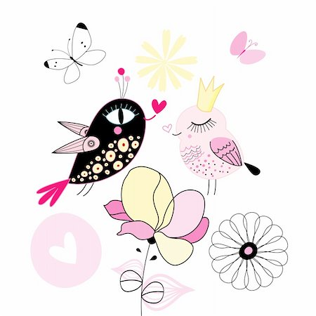 funny love birds on a white background with flowers Stock Photo - Budget Royalty-Free & Subscription, Code: 400-06095336