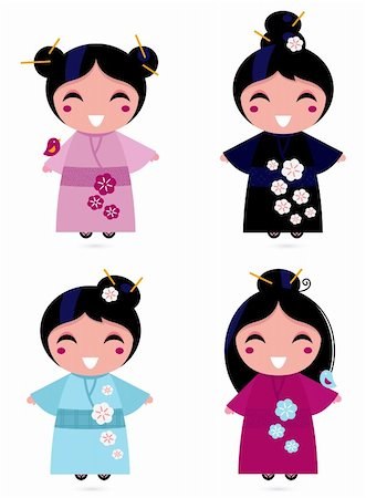pretty in black clipart - Little japan girls collection. Vector Illustration Stock Photo - Budget Royalty-Free & Subscription, Code: 400-06095504