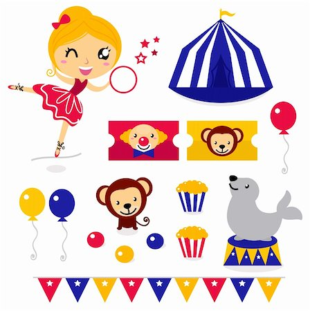 Circus design elements collection. Vector cartoon Stock Photo - Budget Royalty-Free & Subscription, Code: 400-06095525