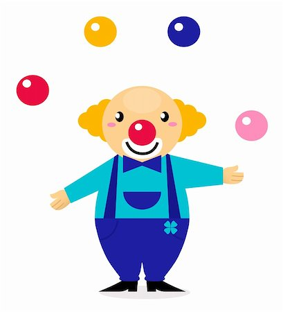Happy cute clown isolated on white. Vector Illustration. Stock Photo - Budget Royalty-Free & Subscription, Code: 400-06095527