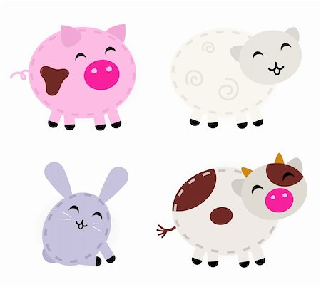 Pig, sheep, rabbit and cow - cartoon vector animals. Stock Photo - Budget Royalty-Free & Subscription, Code: 400-06095540