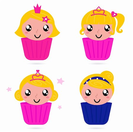 pretty pink star white background - Little princess cakes for your party! Vector cartoon Stock Photo - Budget Royalty-Free & Subscription, Code: 400-06095565