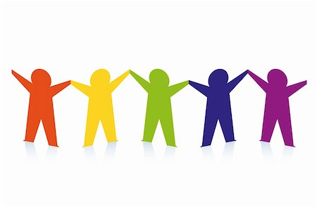 Diverse row of paper people holding hands. Vector Stock Photo - Budget Royalty-Free & Subscription, Code: 400-06095563