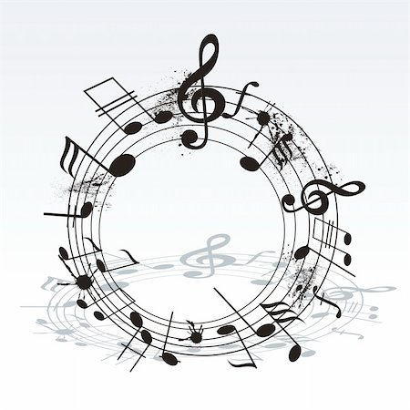 sheet music background - music notes twisted into a spiral Stock Photo - Budget Royalty-Free & Subscription, Code: 400-06096047