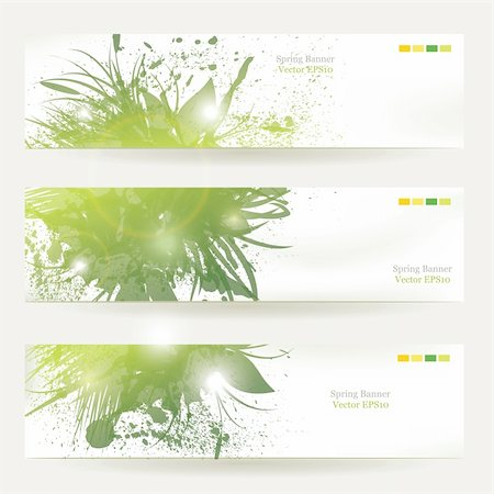 spark vector - set of three banners, abstract headers with green blots Stock Photo - Budget Royalty-Free & Subscription, Code: 400-06096041