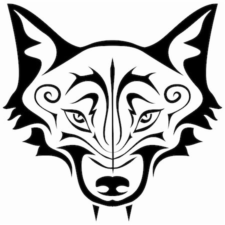 pzromashka (artist) - Black gothic tattoo. The head of a wolf on a white background Stock Photo - Budget Royalty-Free & Subscription, Code: 400-06096331