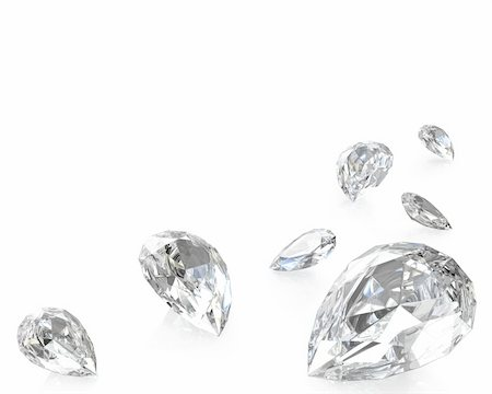 Few pear cut diamonds, isolated on white background Stock Photo - Budget Royalty-Free & Subscription, Code: 400-06096535