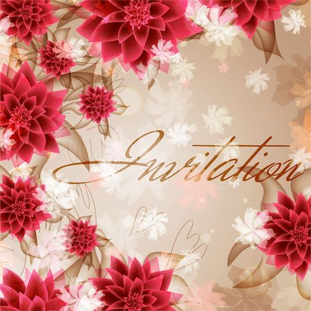 Wedding card or invitation with abstract floral background. Greeting card in grunge or retro style. Elegance pattern with flowers roses, floral illustration in vintage style Valentine Stock Photo - Budget Royalty-Free & Subscription, Code: 400-06096974