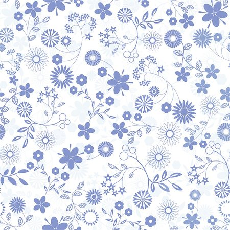 flores - Flower abstract seamless vector background. Art  pattern.  Fabric texture. Floral vintage design. Pretty cute wallpaper. Romantic cartoon feminine filigree tile. Stock Photo - Budget Royalty-Free & Subscription, Code: 400-06096999