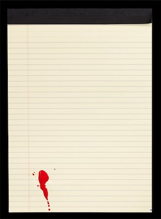 A sheet of lined yellow notepad paper with red blood stains (paint) on it. Stock Photo - Budget Royalty-Free & Subscription, Code: 400-06097118