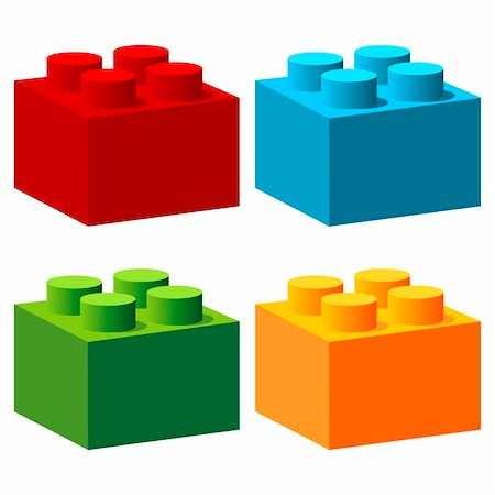 scalable - Bricks with different colors isolated over white Stock Photo - Budget Royalty-Free & Subscription, Code: 400-06097126
