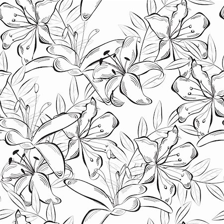 elegant wedding floral graphic - Monochrome seamless wallpaper with lily flowers Stock Photo - Budget Royalty-Free & Subscription, Code: 400-06097179