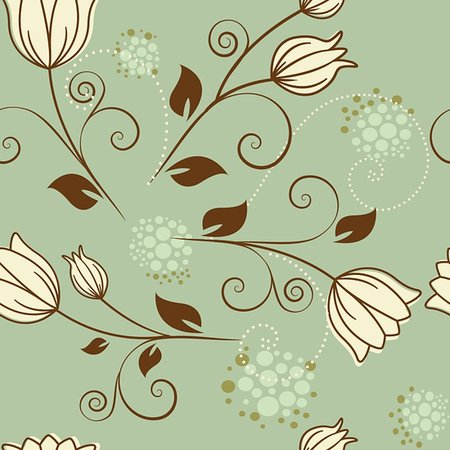 funky flower designs - seamless pattern with flowers on green background Stock Photo - Budget Royalty-Free & Subscription, Code: 400-06097345