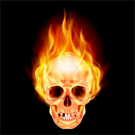 Scary skull on fire. Illustration on black background Stock Photo - Budget Royalty-Free & Subscription, Code: 400-06098589