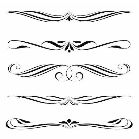 Vector set of decorative elements, border and page rules frame Stock Photo - Budget Royalty-Free & Subscription, Code: 400-06098615