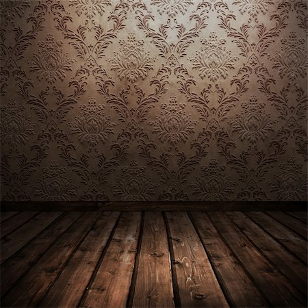 room with wooden floors and old wallpaper Stock Photo - Budget Royalty-Free & Subscription, Code: 400-06098959