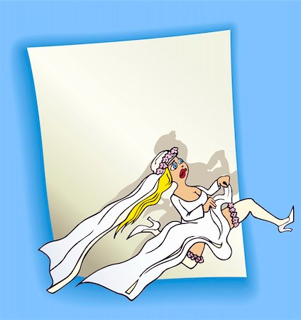 cartoon design illustration with blank page and running bride Stock Photo - Budget Royalty-Free & Subscription, Code: 400-06099214