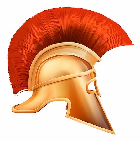 Illustration of side on Spartan helmet or Trojan helmet also called a Corinthian helmet. Versions also used by the Romans. Stock Photo - Budget Royalty-Free & Subscription, Code: 400-06099305